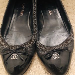 Chanel Pewter/Black Flats